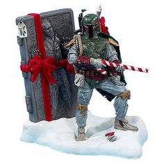 Boba Fett & Carbonite Solo - Star Wars Christmas Ornaments. Candy Cane rifle is my favorite part of this^Jitin