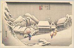 "Evening Snow at Kanbara, from the series ""Fifty-three Stations of the Tōkaidō""  Artist: Utagawa Hiroshige (Japanese, Tokyo (Edo) 1797–1858 Tokyo (Edo))"