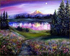 Starry sky over the lake - 5D diamond painting - 45X60CM / Square