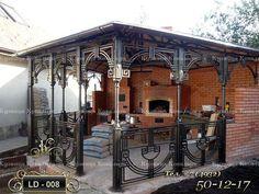 www.prokovano.ru/ Decorative Metal Screen, Grill Gate Design, Metal Awning, Iron Pergola, Gazebos, Brick Architecture, Wrought Iron Gates, Marquise, Iron Work