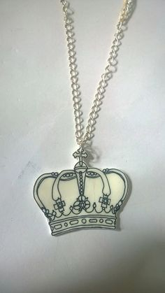 Hand drawn white crown shrink plastic necklace. by BeUniqueCrafting on Etsy