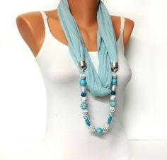 blue jewelry scarf  light baby blue wrinkle scarf door