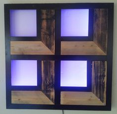 Mood Light Wall Art - made with reclaimed wood and mirror-pane glass, back-lit with LEDs.