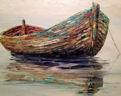 Gran pintura barco Original pintura al óleo lienzo rojo
