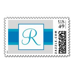 R Monogram (Blue / Gray Elegant) Postage Stamps