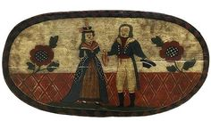 Large Danish wooden hat or wig box with original painting.