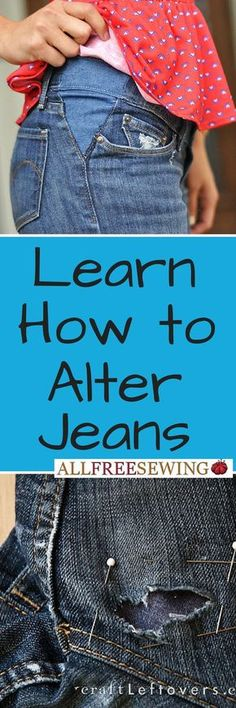 Use these easy sewing projects to learn how to sew denim. Learn how to make your own clothes and more with denim ideas. Easy Sewing Projects, Sewing Projects For Beginners, Sewing Hacks, Sewing Tips, Sewing Tutorials, Sewing Ideas, Altering Jeans, Altering Clothes, Diy Clothing