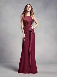 For your burgundy wedding, wine Charmeuse and Chiffon Bridesmaid Dress with Ruffle is fit for any venue. Shop this WHITE by Vera Wang bridesmaid dress at David's Bridal