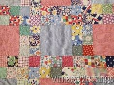 Beautiful-Vintage-30-40s-Cottage-Farm-Red-Gingham-Feedsacks-QUILT-88x83