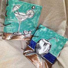 Cardápios com capa pintada em Tecido