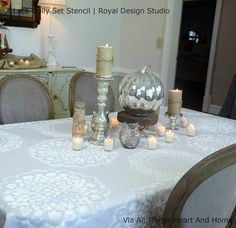 Our Lace Doily Wall Stencil Set includes all of our beautiful lace doilies in a large size for stenciling feature walls, fabric floor cloths, table runners, and