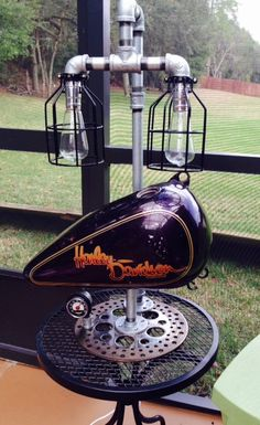 Steampunk Harley Davidson Motorcycle Lamp by AmericanRustedLamps Diy Crafts Lights, Light Crafts, Car Furniture, Automotive Furniture, Rustic Light Fixtures, Rustic Lighting, Harley Davidson Posters, Recycled Metal Art, Steampunk Lamp