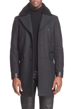 47d4703af05125 Belstaff  Grovewood  Wool Blend Coat with Genuine Shearling Collar  available at  Nordstrom Men s