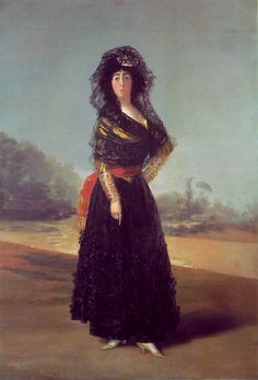 FRANCISCO GOYA (Spanish): Duchess of Alba 1797. Oil on canvas, 210.2 x 149.2 cm. Like others before him Goya had to make a living and depended on the patronage of the royal family and other nobility. The Duchess of Alba was a good friend and patron. LINK for more.