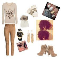 """""""Winter Collection Snowflake Edition"""" by im-love-with-the-cocoa-channel on Polyvore featuring H&M, George, Jessica Simpson, Versace, Inverni, nails, Winter, Tan, gloves and snowflake"""