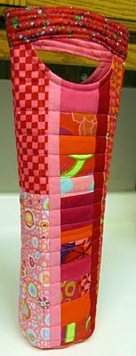 Quilted Wine Tote by Melody with link to a tutoral