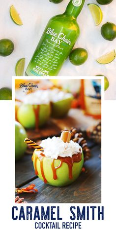 Caramel Smith is an easy three ingredient cocktail recipe perfect for fall and Halloween.   Shake all ingredients together with ice. Strain into rocks glass filled with ice. Garnish glass with caramel syrup and green apple slice.  #bluechairbay #keylimerumcream #BCBHappyHour Key Lime Rum Cream, Green Apple Vodka, Cocktail Recipes, Cocktails, Apple Slices, Halloween Projects, Non Alcoholic, Graham Crackers, Syrup