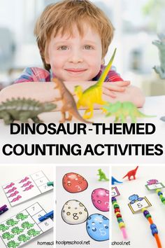 Kids can practice counting while building fine motor skills with three dino-mite dinosaur counting activities for preschoolers! Counting Activities For Preschoolers, Fun Math Activities, Printable Activities For Kids, Preschool Printables, Counting Games, Dinosaur Theme Preschool, Preschool Themes, Toddler Preschool, Preschool Math
