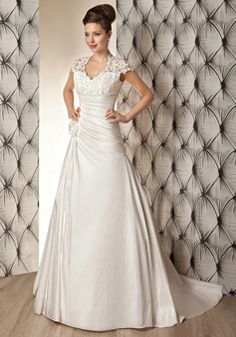 Retro A line Queen Anne Taffeta & Lace Asymmetric Waist Floor Length Wedding Dresses - Lunadress.co.uk