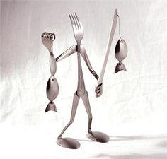 Fork Sculpture Fisherman Spoon and Fork Art Sculptures