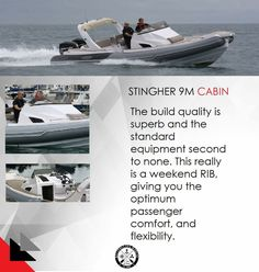 STINGHER 9M CABIN You have the option of single or twin engine installation with a top speed of approx 48 knots and cruising at 35 knots depending on engine choice. Take Ribbing to the next stage with the New Stingher 9.0m Cabin rib. contact: charismerkatis@gmail.com www.charismerkatis.com
