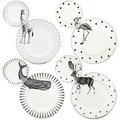 A set of 4 unique matching dinner and side plates with quirky Animal illustrations and gilt gold detailing.Created by Yvonne Ellen, this fun and fabulous plate set is perfect for impressing guests at your dinner or tea parties, and is guaranteed to get the table talking and the party started.Sold as set of 4 (4 x dinner plates and 4 x side plates).This striking designs also looks great displayed as wall art, bringing gallery-worthy style to your home.All plates also ha...