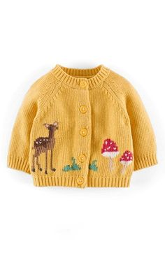 Free shipping and returns on Mini Boden 'My Favourite' Intarsia Knit Cardigan (Baby Girls) at Nordstrom.com. A darling, intarsia-knit deer charms on an enchanting cardigan crafted from a cashmere-kissed cotton blend.