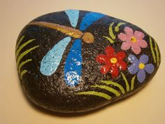 Painted rock Dragonfly by PlaceForYou on Etsy, $5.00