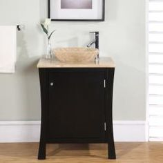 @Overstock - This single-sink bathroom vanity has an elegant design perfect for a small bathroom or powder room. This cabinet vanity has one door which opens to reveal a shelf and drawer for storage.http://www.overstock.com/Home-Garden/Modern-Travertine-Stone-26-inch-Single-sink-Cabinet-Bathroom-Vanity/5880554/product.html?CID=214117 $890.99