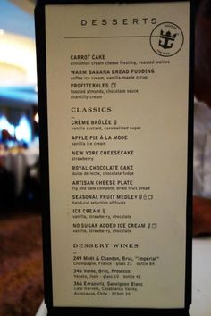 spotted: new main dining room menu on royal caribbean's oasis of