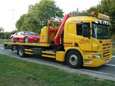 SCANIA platform tow wrecker truck on duty