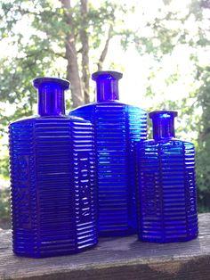 Blue Glass Bottles, Cobalt Glass, Blue Bottle, Cobalt Blue, Vodka Bottle, Antique Bottles, Old Bottles, Antique Glass, Kind Of Blue