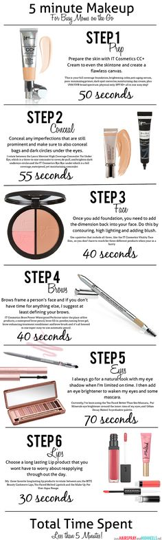 5 Minute Makeup via www.hairsprayandhighheels.com