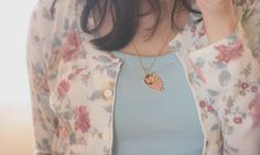 Pretty floral cardigan and love that owl necklace