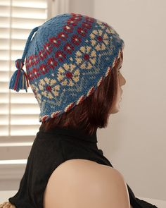 Hand knitted hat with tassel, blue, yellow, red, mint colors, fair isle, winter hat, woolen, warm.
