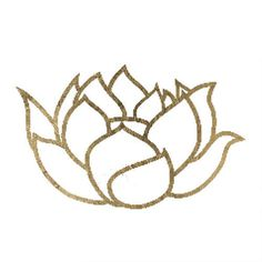 """How gorgeous is this design!? A sweet delicate lotus outline in a brilliant gold! Sheet Size: 2"""" x 2"""" - Lasts 5-7 days even with swimming and bathing! - Easy to put on and easy to remove! - Skin safe"""