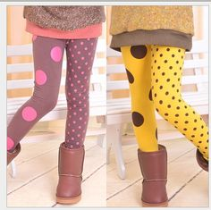Retail 2013 AB dot Girl Leggings Cute Children pants Yellow and coffee Free shipping-in Leggings from Apparel & Accessories on Aliexpress.com