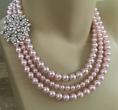 Blush Pearl Necklace Set with Brooch 3 multi strands Swarovski Rosaline Pink pearls Earrings Included wedding jewelry sets bridesmaid gifts Pink Pearl Earrings, Pearl Necklace Set, Evil Eye Necklace, Pearl Jewelry, Beaded Jewelry, Fine Jewelry, Silver Jewellery, Diamond Earrings, Pearl Necklace Designs