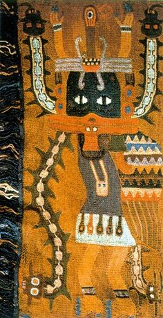Manto paracas. Repinned by Elizabeth VanBuskirk. Detail of a textile woven over 2 thousand years ago and excavated in excellent condition due to the extremely dry coastal desert on the Peruvian west coast. Probably a costumed figure gyrating in dance. Elements of the costume relate way back to the earlier Chavin culture. The serrations on the arms, eyes. Also note the trophy heads. Yes, trophy heads.