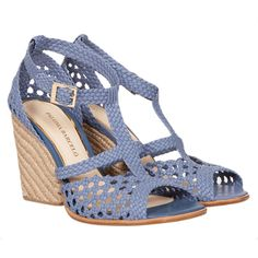 cd0d6f4dce3cf6 Paloma Barcelo Blue Woven Rope Heel (225 AUD) ❤ liked on Polyvore featuring  shoes