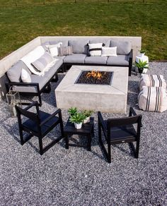 Tour this modern outdoor fire pit seating area with gorgeous Polywood outdoor furniture and neutral tones. Outdoor Rooms, Outdoor Living, Outdoor Fire, Outdoor Decor, Polywood Outdoor Furniture, Fire Pit Seating, Cool Diy Projects, Living Spaces, Patio