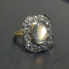 edwardian platinum and 18K moonstone and diamond ring | Past Era Antique Jewelry
