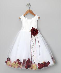 White  Burgundy Petal Silk Dress