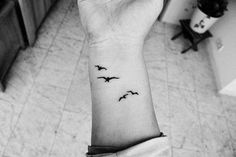 Birds Flying Side Wrist Tattoo