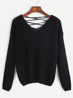 Jersey escote V con cordón - negro -Spanish SheIn(Sheinside)