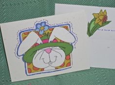 NOTECARDSEaster Rabbits in Fabric Applique by acraftingheart