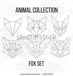Set of geometric fox head isolated on white background vintage design element illustration