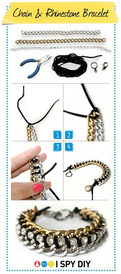 Chain and Rhinestone Bracelet Tutorial  #Accessories #bracelet #tutorial