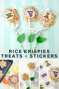 'Happy Spring' lollipops with matching stickers