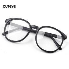 e109e5aba4c90 OUTEYE Women Vintage Glasses Frame Plain Mirror Harajuku Round Optical  Frame Girl Eyeglass Clear Lens oculos